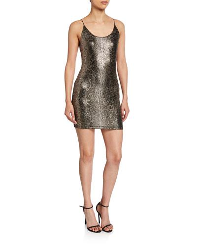 Delora Spaghetti-Strap Fitted Mini Dress