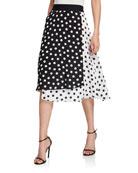 Alice + Olivia Nanette Mock Wrap Midi Skirt