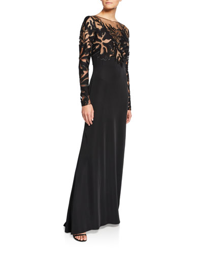 Lace Illusion Long-Sleeve Crepe Gown