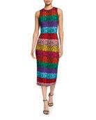 Alice + Olivia Delora Fitted Sleeveless Crewneck Dress