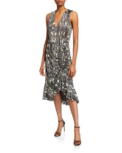 Briony Python-Print Ruched Ruffle Dress