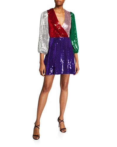 Blaze Sequined Blouson-Sleeve Dress