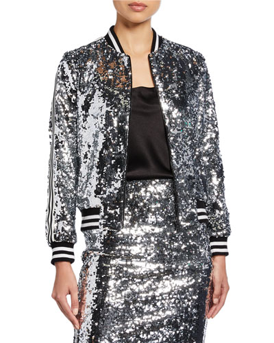 Lonnie Sequin Cropped Bomber Jacket