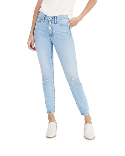 High-Rise Skinny Jeans with Button Front