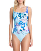 Gottex Paradise Floral Square-Neck One-Piece Swimsuit - Extra