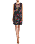 Johnny Was Mishao Floral Embroidered Sleeveless Dress