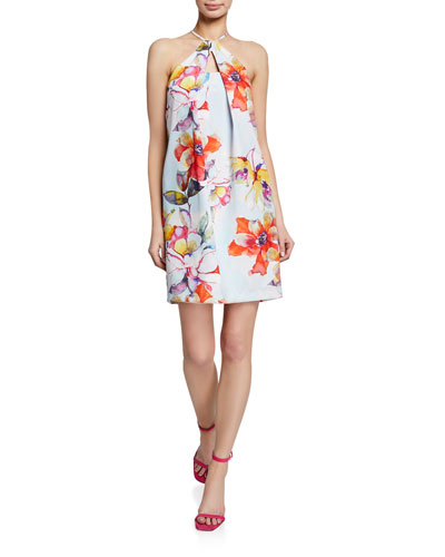 Floral Pinch-Neck Halter Dress with Keyhole