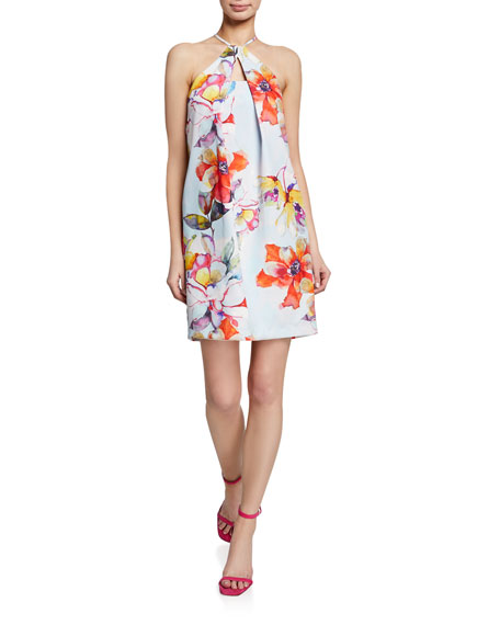 Trina Turk Floral Pinch-Neck Halter Dress with Keyhole