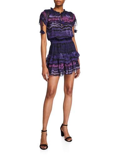 Becca Ombre Cap-Sleeve Smock-Waist Tiered Mini Dress