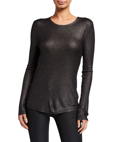 Metallic Ribbed Long-Sleeve Crewneck Tee
