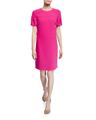 Jacinta Petal-Sleeve Crepe Shift Dress