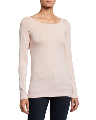 Boat-Neck Long-Sleeve Tee