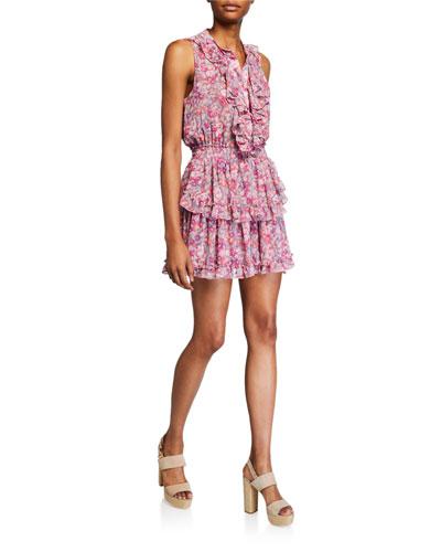 Marnie Floral Sleeveless Mini Ruffle Dress