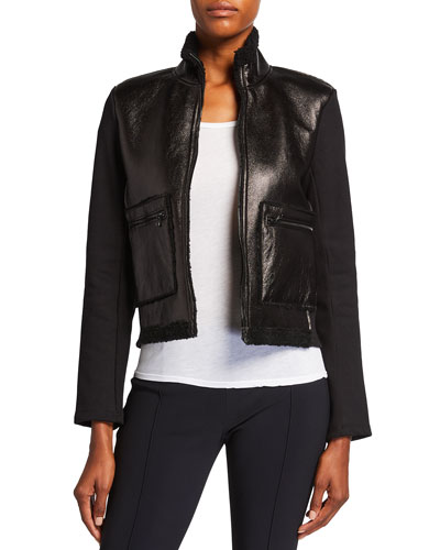 Metallic Shearling Zip-Front Jacket
