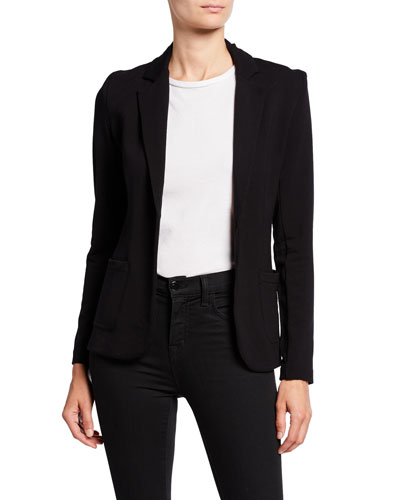 One-Button Fitted Long-Sleeve Blazer