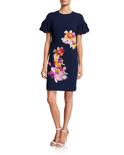 Jacinta Puff-Sleeve Sheath Dress w/ Floral Embroidery