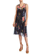 Johnny Was Neiro Floral Mesh Sleeveless Dress