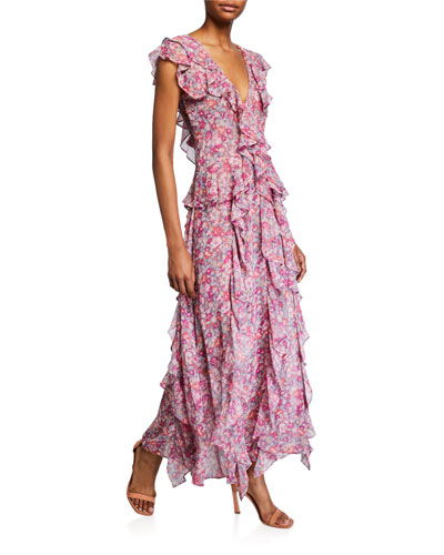 Lavinia Floral-Print Ruffle Long Dress