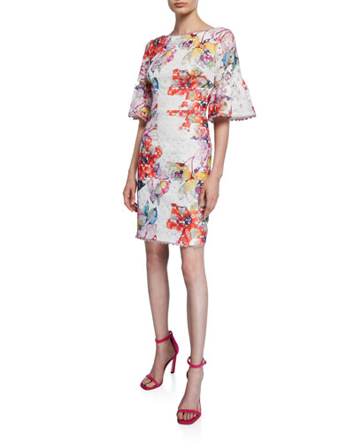 Flora Waterfall Floral-Printed Lace Bell-Sleeve Sheath Dress