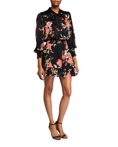 Iyana Floral Tie-Neck Smock-Waist Mini Dress