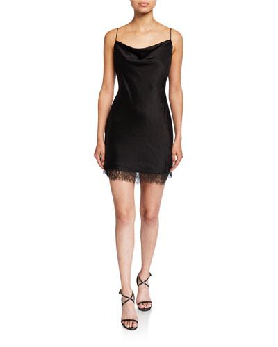 Harmony Cowl-Neck Lace-Hem Mini Slip Dress