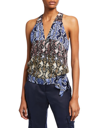 Kenna Printed Sleeveless Side-Tie Surplice Top