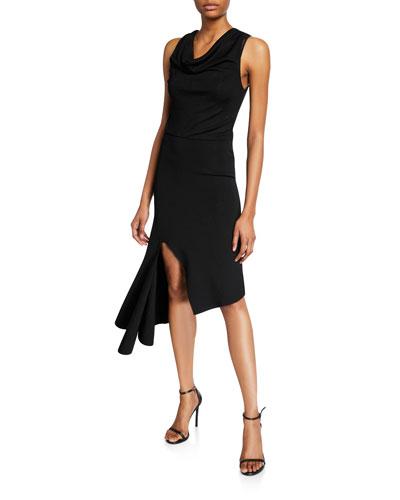 Hollis Cowl-Neck Cascade Dress