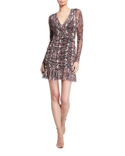 Tina Sheer Long-Sleeve Mini Dress