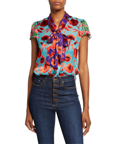 Jeannie Colorblock Floral Bow-Collar Cap-Sleeve Top