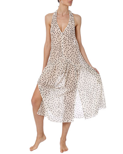 Polka Dot Halter Coverup Dress