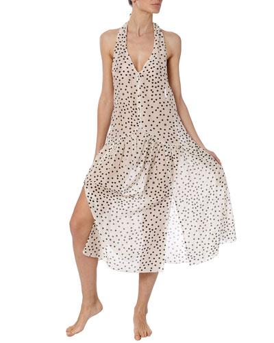 Polka Dot Halter Coverup Dress