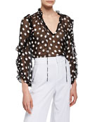 Alice + Olivia Julius Sheer Polka-Dot Ruffle-Sleeve Tunic
