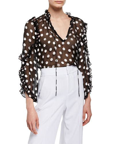 Julius Sheer Polka-Dot Ruffle-Sleeve Tunic Top
