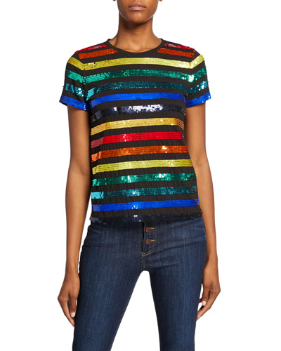 Rylyn Sequin Stripe Crewneck Short-Sleeve Top