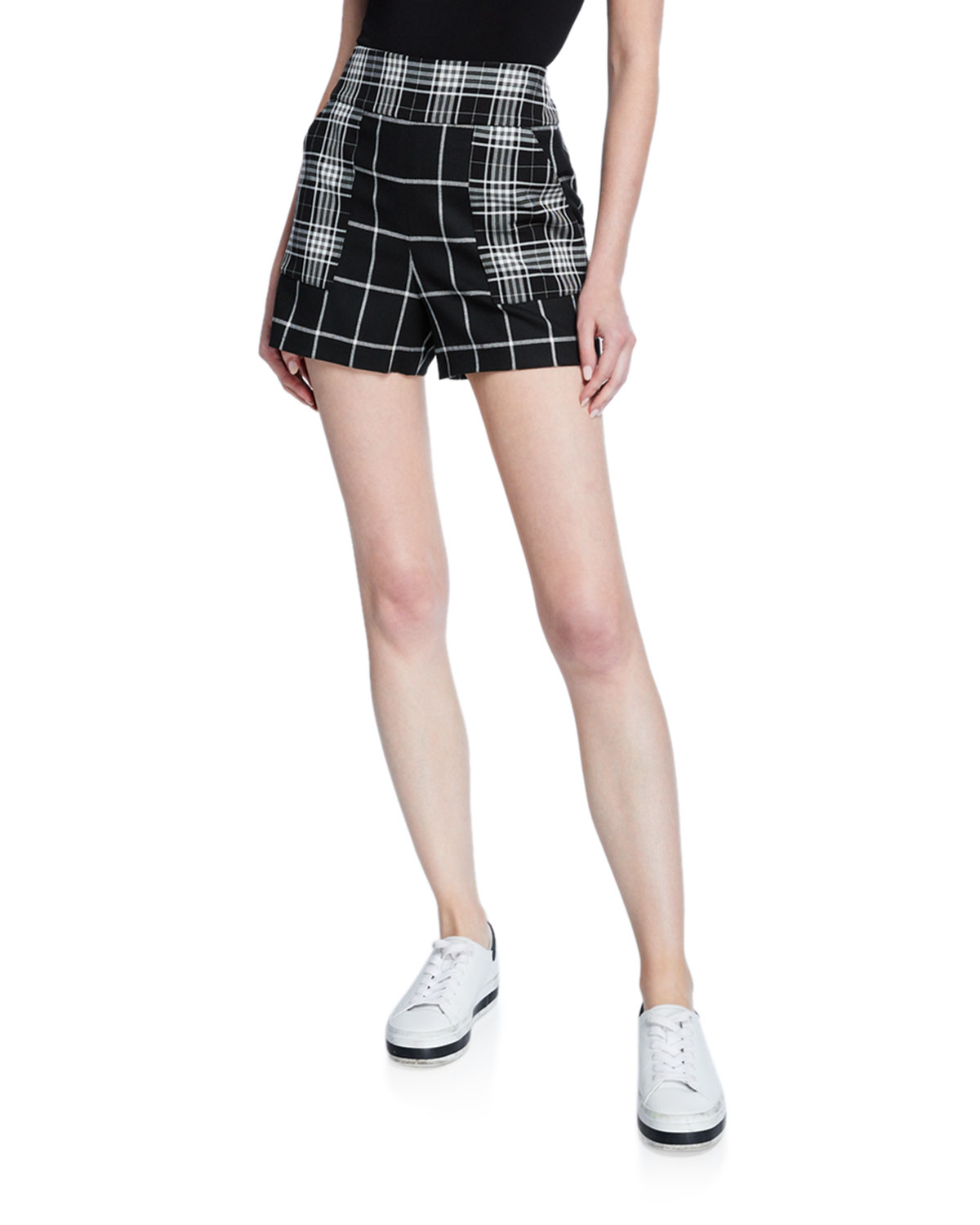 Alice And Olivia Linings DONALD HIGH-WAIST PATCH POCKET SHORTS