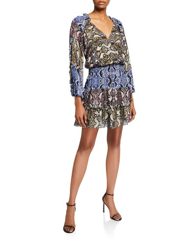 Gladis Python-Print Ruffle Short Dress