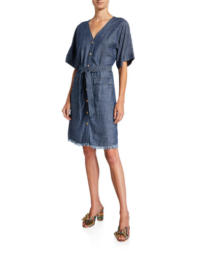 889d22bdf0b9 Quick Look. Trina Turk · Lanai Button-Front Short-Sleeve Belted Denim Dress