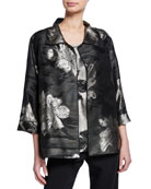 Caroline Rose Fall Flower Jacquard Easy Shirt