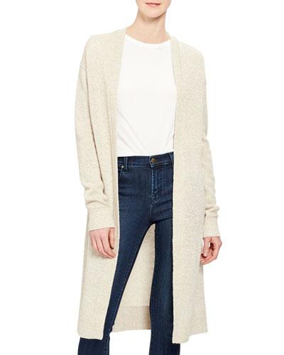 Linen/Cashmere Open-Front Cardigan