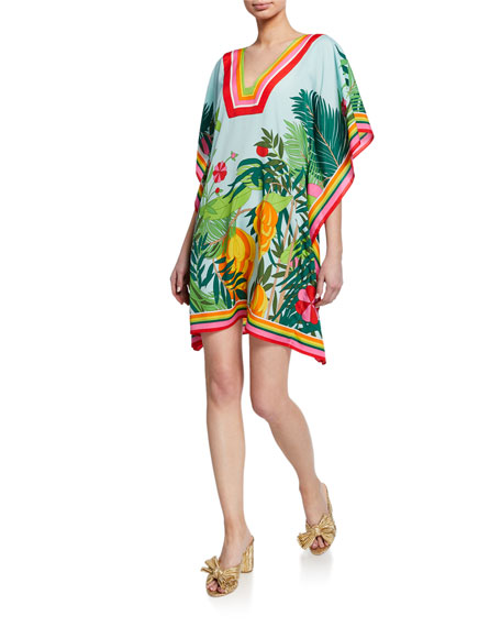 Saloni Grace Off The Shoulder Floral Print Silk Mini Dress