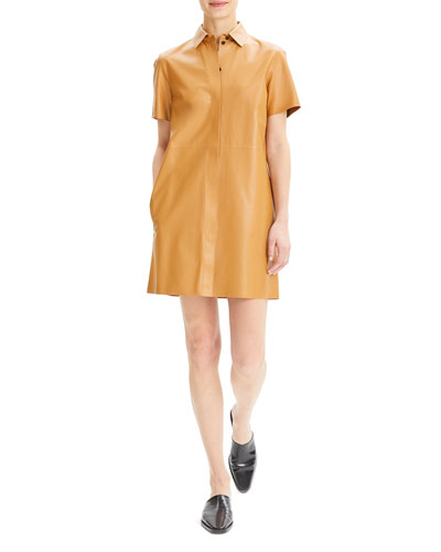 Button-Down Short-Sleeve Mini Leather Shirtdress