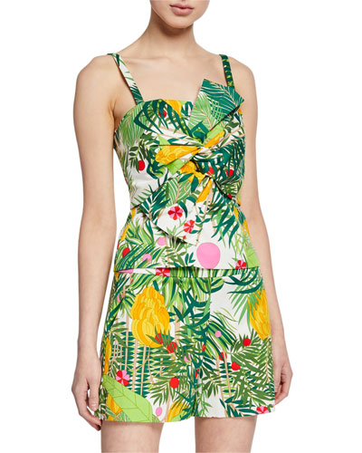 Lacquer 2 Printed Twist Front Bustier Top