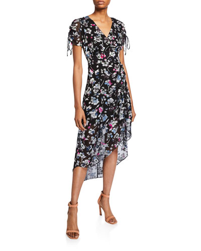 Lizzy Draped Floral High-Low Dress