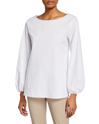 Boat-Neck Shirred-Sleeve Top