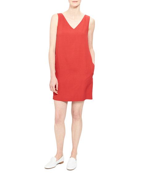 Theory V-Neck Sleeveless Mini Shift Dress