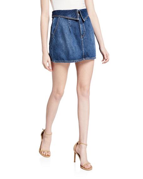 ALICE + OLIVIA JEANS Good Fold-Over Pleated Mini Skirt
