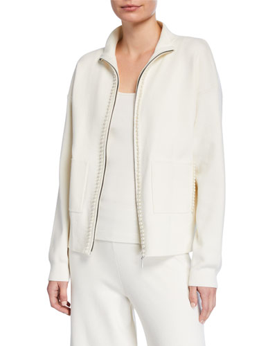 Pearlescent Trim Zip-Front Sweater Jacket