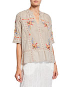 Johnny Was Uma Embroidered V-Neck Elbow-Sleeve Easy Voile