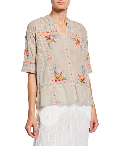 Uma Embroidered V-Neck Elbow-Sleeve Easy Voile Top