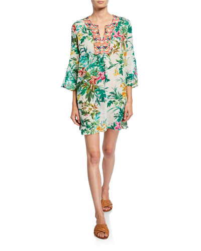 Floral-Print Embroidered V-Neck Flare-Sleeve Linen Tunic Dress